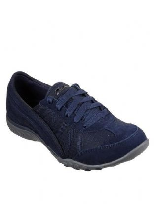Skechers Womens 23845 NVY Navy Breathe Easy Weekend Wishes Relaxed Fit Trainers